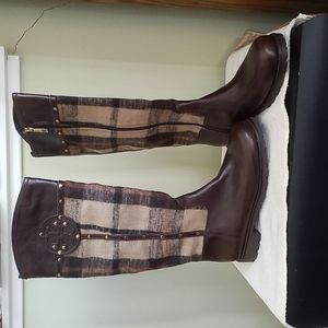 Tory Burch Leather & Fabric Riding Boot Size 8.5